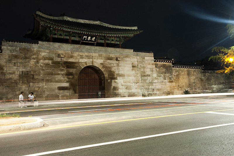 Gyeongbokgung Palace Side Geonchunmun Gate Car Light Trails - Seoul, South Korea - Daily Travel Photos