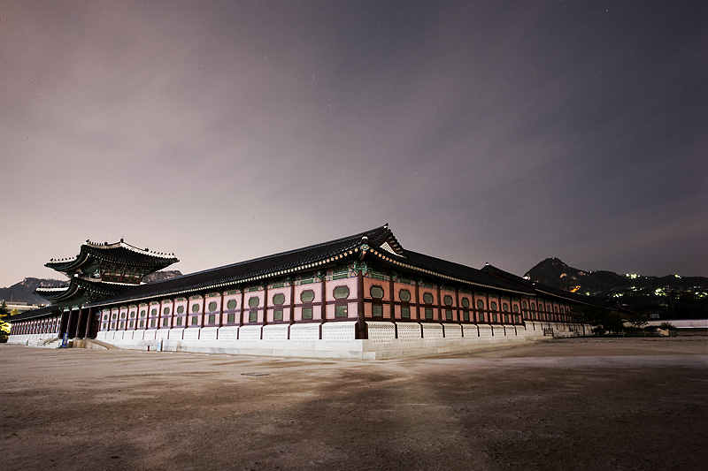 Gyeongbokgung Palace Front Huengnyemun Gate Night - Seoul, South Korea - Daily Travel Photos