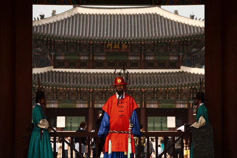 Gyeongbokgung Palace Hyeungryemun Gate Guards Framed Background - Seoul, South Korea - Daily Travel Photos