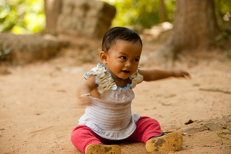 Baby Twisting Ground Mid Twist Angkor Wat Cutest In The World - Siem Reap, Cambodia - Daily Travel Photos
