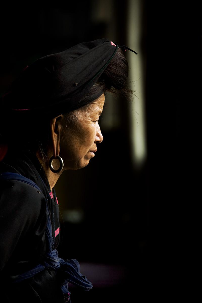 Dragon's Backbone Titian Longji Miao Minority Woman Traditional Clothes Long Earlobes Earring Side - Ping An, Guanxi, China - Daily Travel Photos