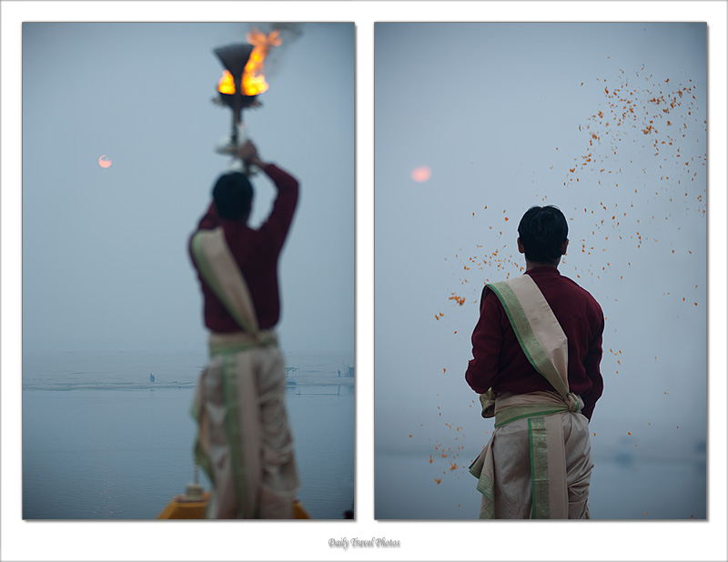 Brahman Priest Puja Ganges Diptych Sunrise Morning Garlands Snake Fire Holder - Varanasi, Uttar Pradesh, India - Daily Travel Photos