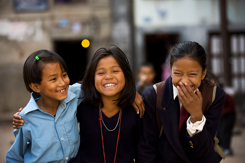 School Children Girls Laughing At Photo - Kathmandu, Nepal - Daily Travel Photos