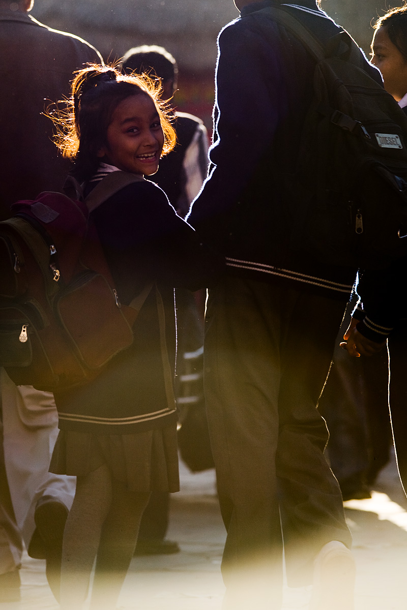 Sister Brother Girl Laughing At Photo Lens Flare - Kathmandu, Nepal - Daily Travel Photos