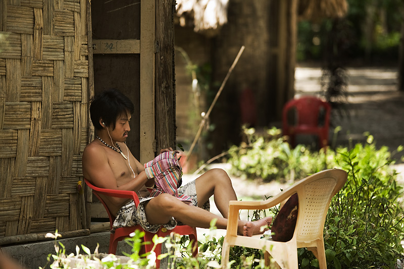 Korean Guy Sewing Budget Accomodations Hut Leisure - Neil Island, Andaman, India - Daily Travel Photos
