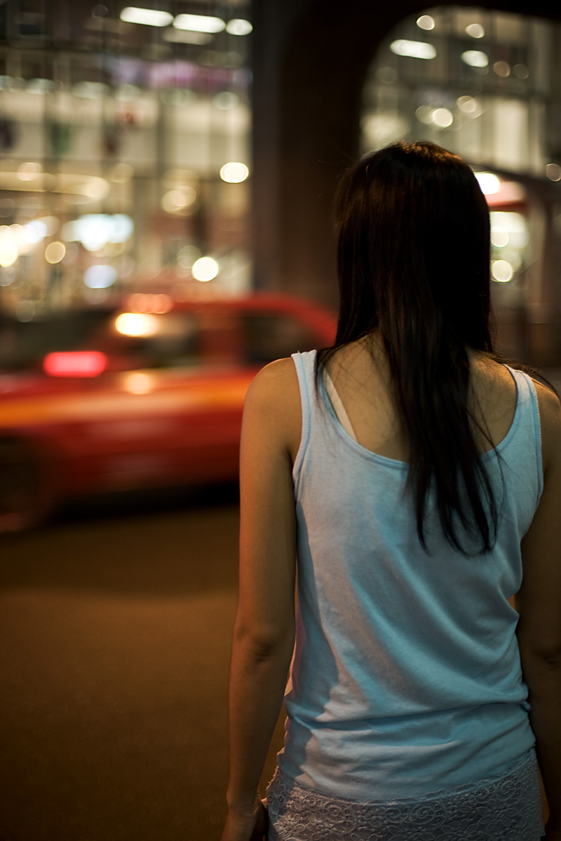 Thai Woman Street Traffic Shoulder - Bangkok, Thailand - Daily Travel Photos
