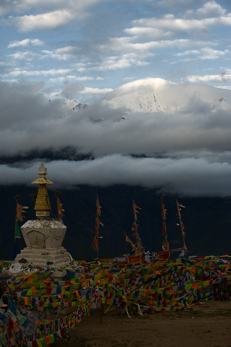 Meili Snow Mountain Stupa Chorten Prayer Flags Snow-Capped - Deqin, Yunnan, China - Daily Travel Photos