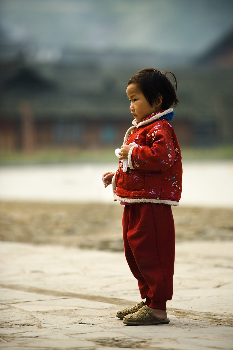 Chinese Girl Red Clothes Miao Ethnic Minority - Kaili, Guizhou, China - Daily Travel Photos