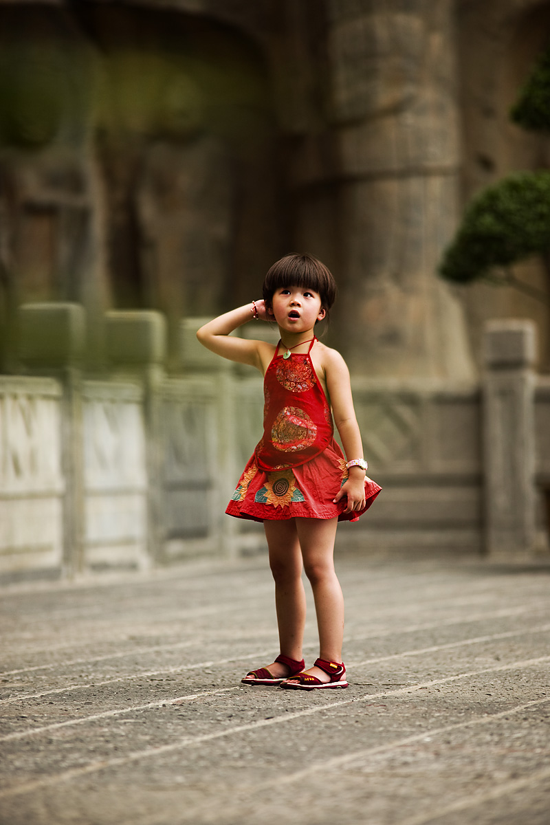 Chinese Girl Red Clothes Bowl Haircut Longmen Shi Buddhist Grottos - Luoyang, Henan, China - Daily Travel Photos