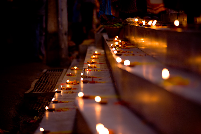 Diwali Festival of Lights Holiday Candles Steps Store - Kathmandu, Nepal - Daily Travel Photos