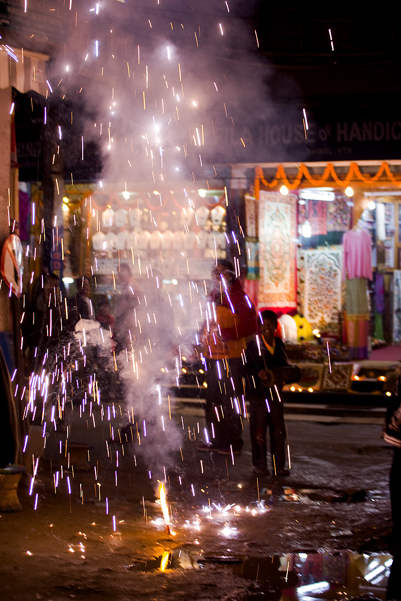 Diwali Festival of Lights Holiday Roman Candles Fireworks - Kathmandu, Nepal - Daily Travel Photos