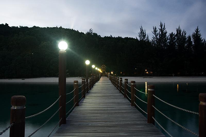 Pier Dusk Lamps Wooden Forest Resort - Pulao Manukan, Sabah, Malaysia - Daily Travel Photos