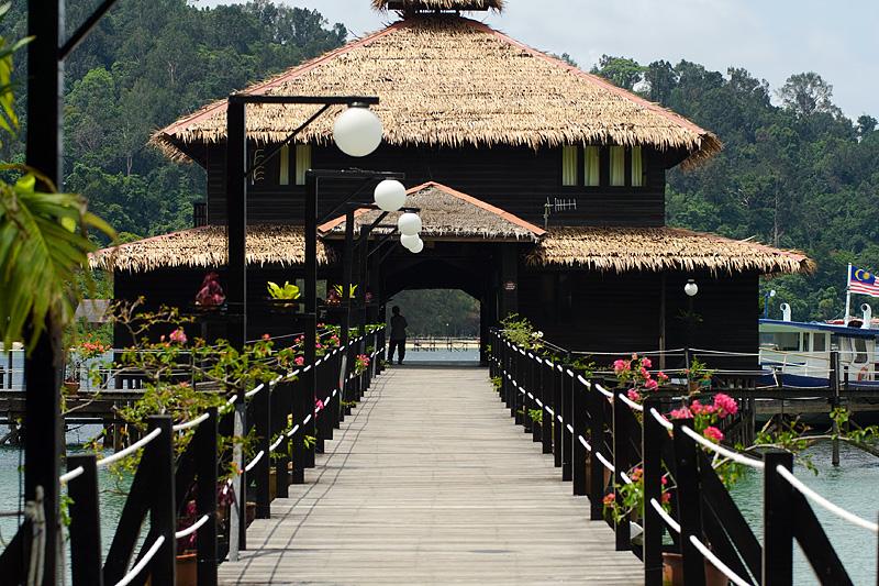 Pier Resort Wooden Thatched Flowers Stilt - Pulao Gaya, Sabah, Malaysia - Daily Travel Photos