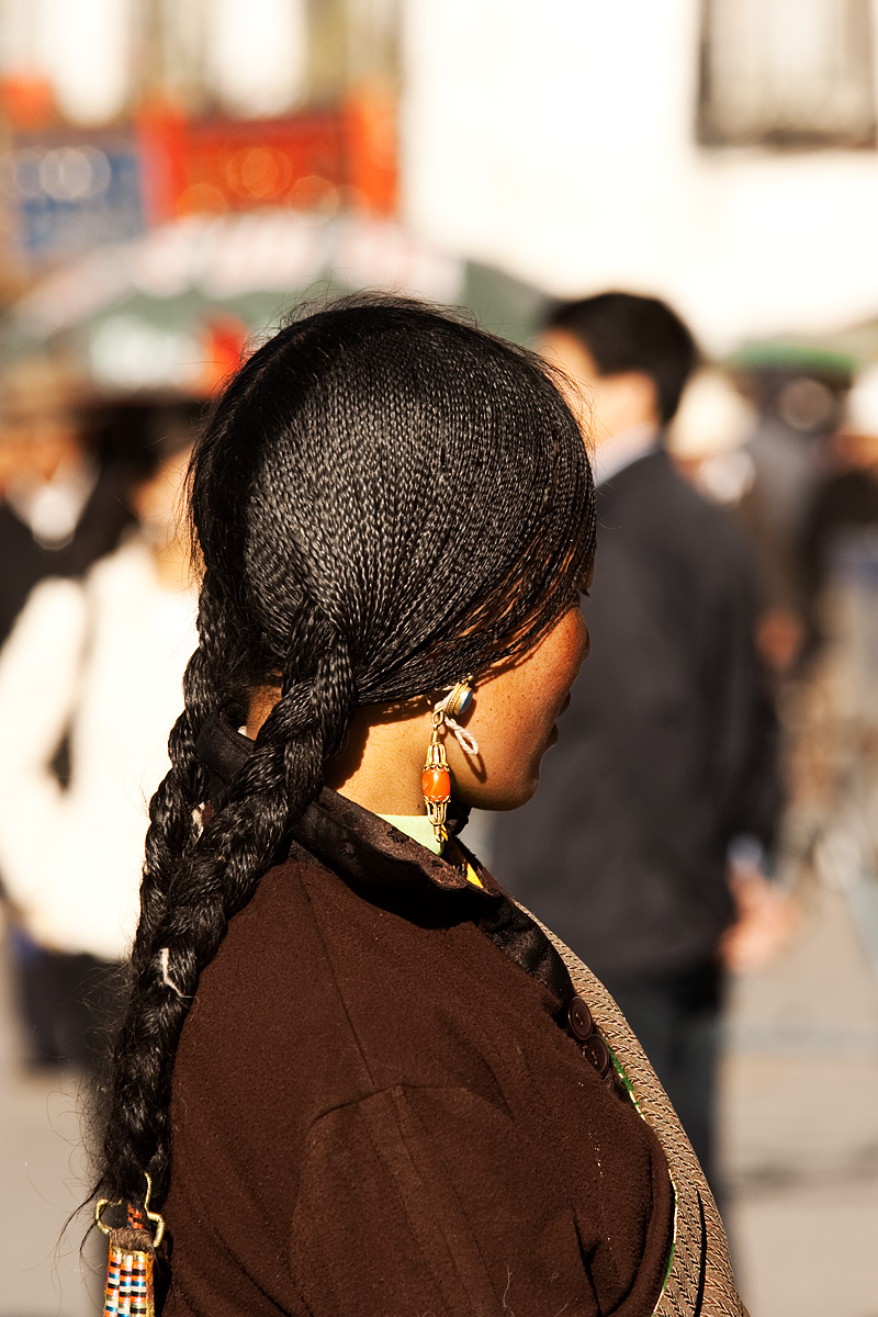 Tibetan Woman Braided Shiny Hair - Lhasa, Tibet - Daily Travel Photos
