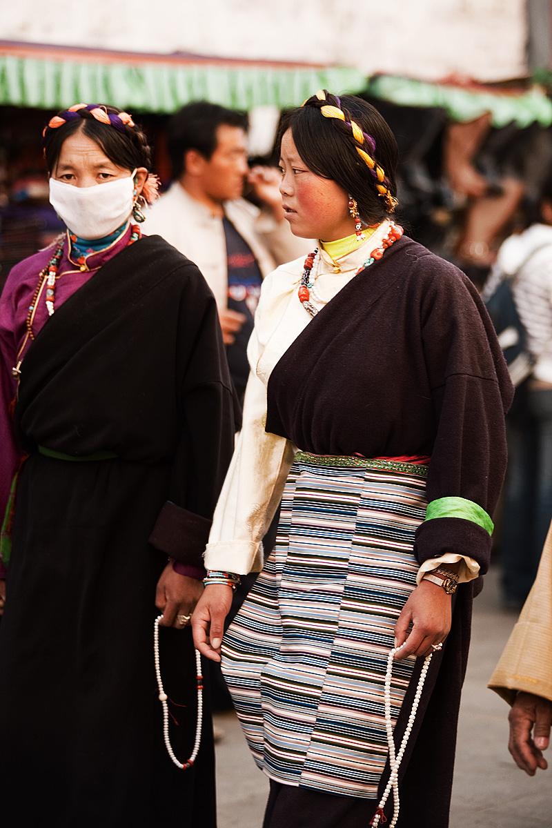 Tibetan Women Braided Hair Mask Barkhor - Lhasa, Tibet - Daily Travel Photos