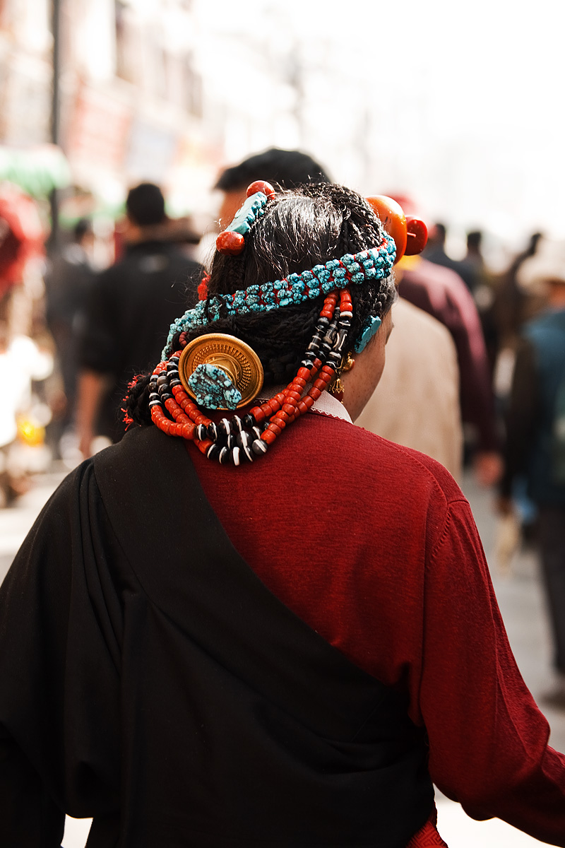 Tibetan Woman Braid Head Ornament Beads Back - Lhasa, Tibet - Daily Travel Photos