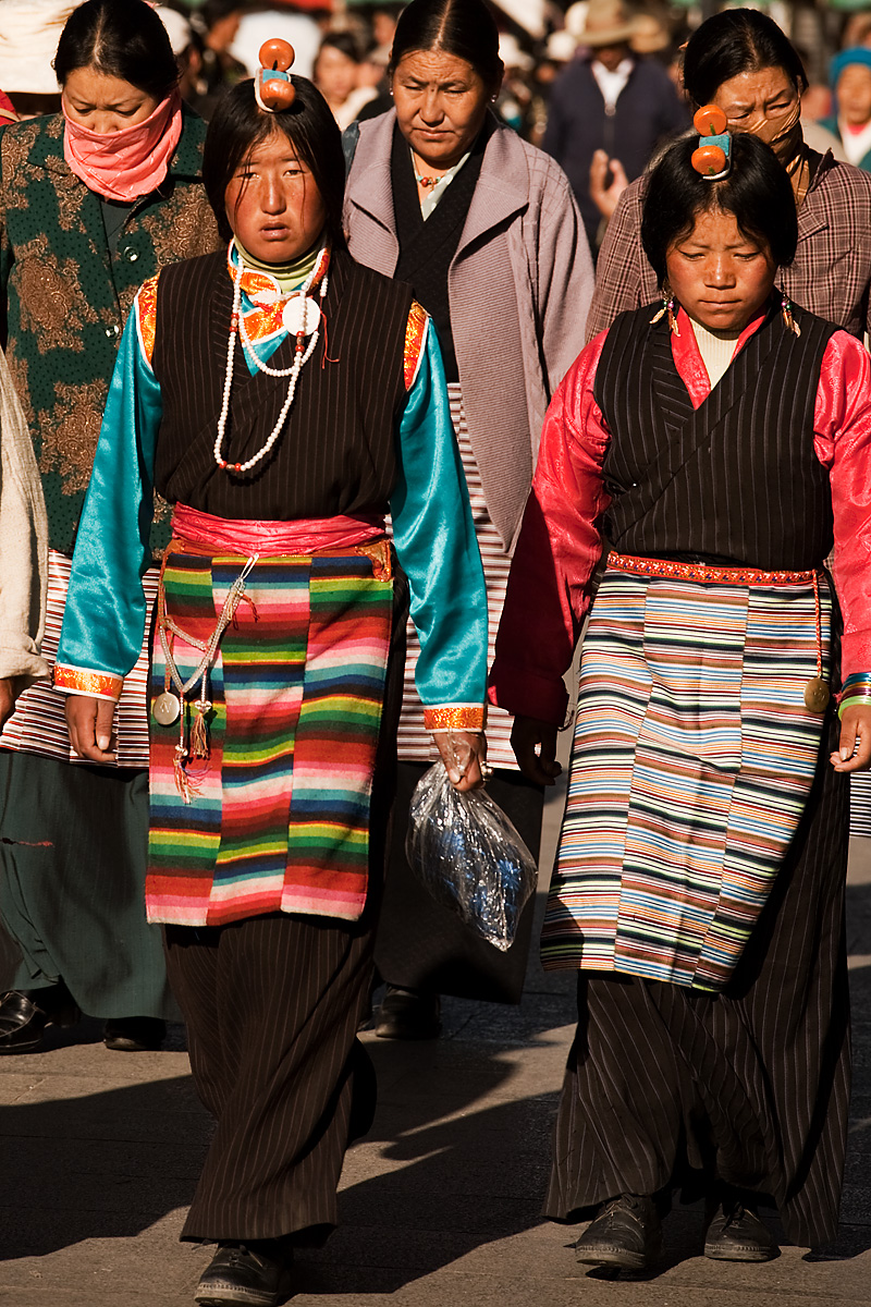 Tibetan Women Head Ornament Beads Traditional Clothes Stripes - Lhasa, Tibet - Daily Travel Photos