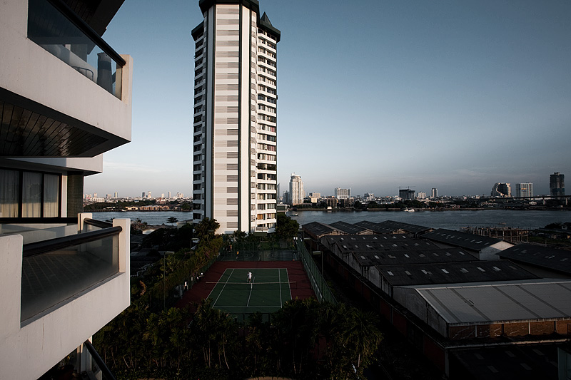 Highrise Aparment Tennis Court Chao Phraya River - Bangkok, Thailand - Daily Travel Photos