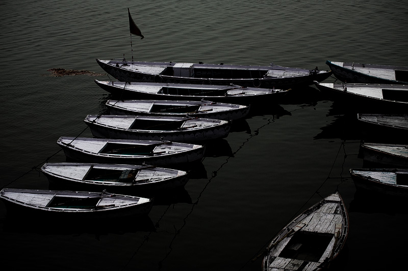 Ganges Boats Empty Morning Dawn - Varanasi, Uttar Pradesh, India - Daily Travel Photos