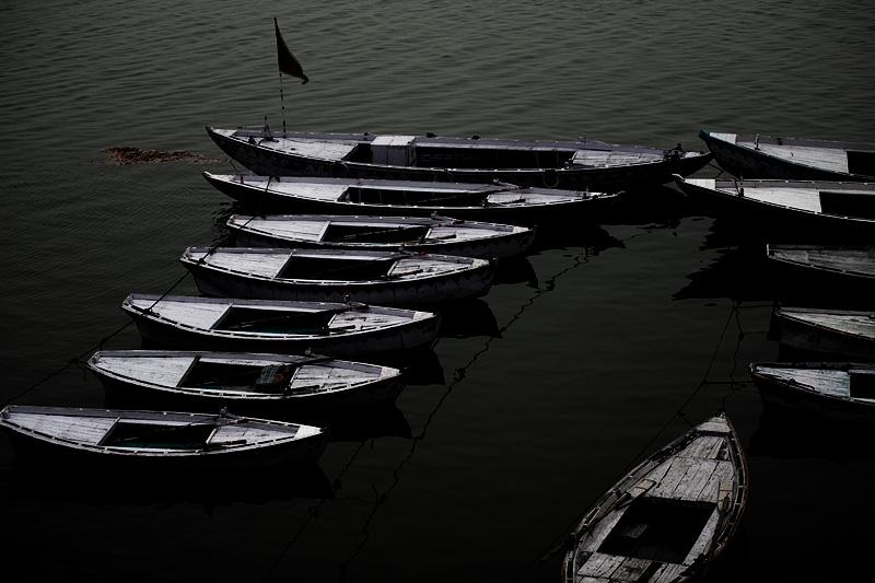 Ganges Boats Empty Morning Dawn - Varanasi, Uttar Pradesh, India - Daily Travel Photos