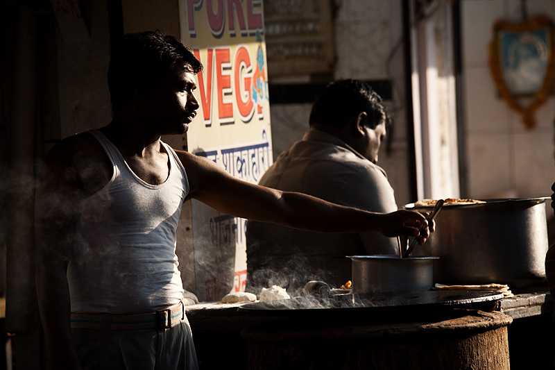 Parantha Cook Restaurant Owner Morning Light - Delhi, India - Daily Travel Photos