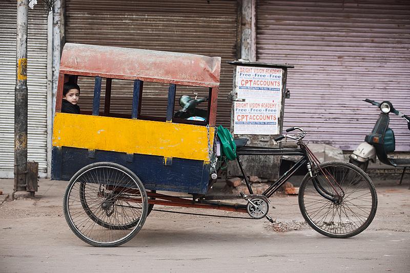School  Bus Transportation Children Cycle Rickshaw Box Prison Preschool - Delhi, India - Daily Travel Photos