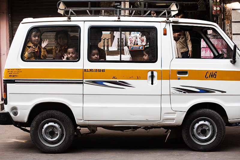 School  Bus Transportation Children Van CNG - Delhi, India - Daily Travel Photos
