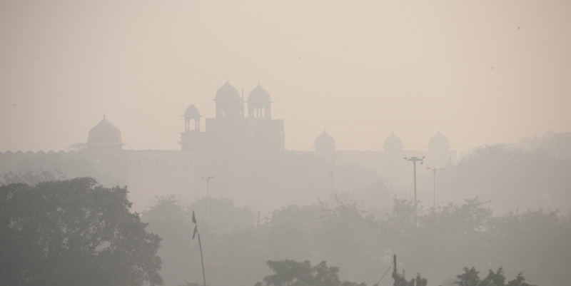 The Red Fort's wall and domes faintly visible from a distance. - Delhi, India - Daily Travel Photos