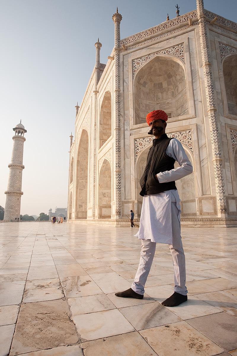 A Rajasthani poses for me on the marble pedestal of the Taj Mahal. - Agra, Uttar Pradesh, India - Daily Travel Photos