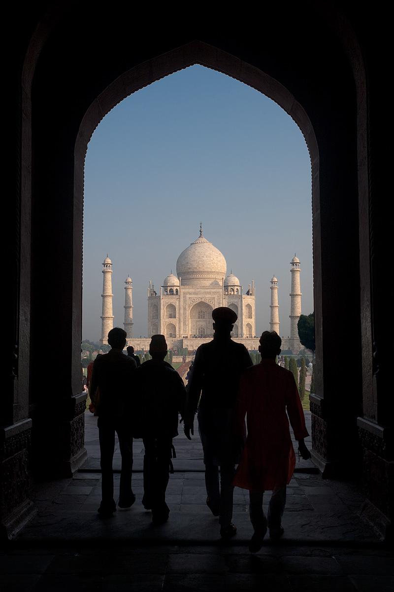 Four Rajasthanis walk through the entrance of the Taj Mahal. - Agra, Uttar Pradesh, India - Daily Travel Photos