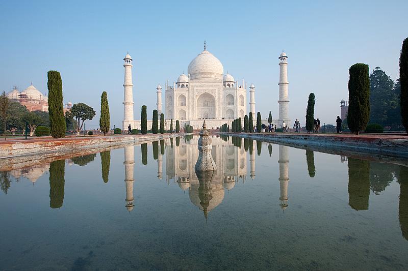 The Taj Mahal mirrored by a water fountain's reflection. - Agra, Uttar Pradesh, India - Daily Travel Photos