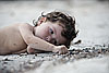 Sand Doodling Photo: Lorella, the photogenic daughter of a Basque family staying on the island.