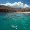 Turqoise Waters Photo: A travel mate snorkels in the waters of famed Komodo Island, home to the Komodo Dragon and some of the loveliest isolated beaches in all of Indonesia.