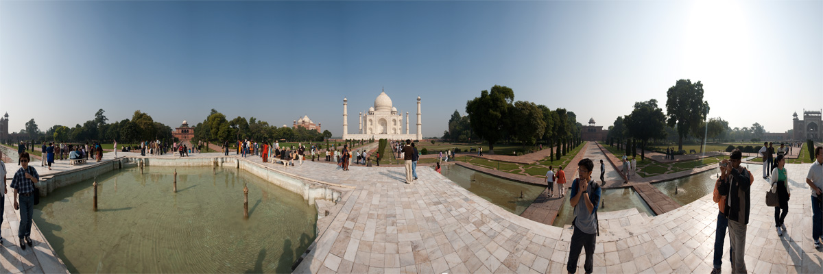 A panorama of the Taj Mahal taken from the center fountain. - Agra, Uttar Pradesh, India - Daily Travel Photos