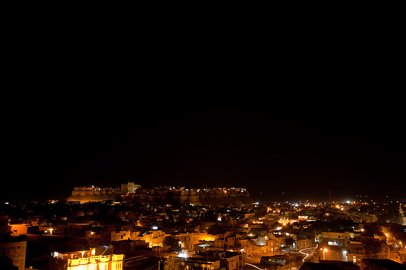 A night photo of the fort and city. - Jaisalmer, Rajasthan, India - Daily Travel Photos