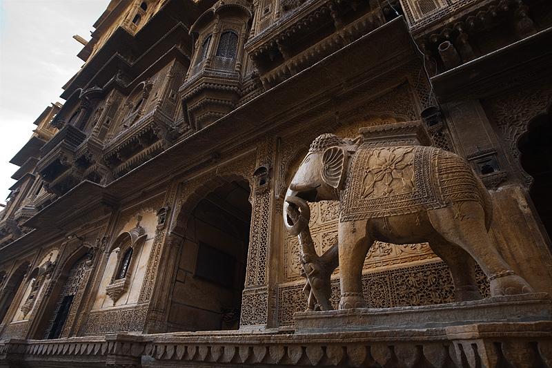 A symbolic carved elephant of the Nathmal-Ki-Haveli home. - Jaisalmer, Rajasthan, India - Daily Travel Photos