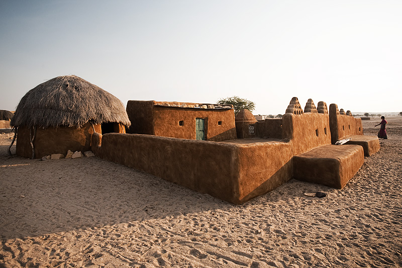 A traditional mud home in a nearby village three hours from Khuri. - Khuri. Rajasthan, India - Daily Travel Photos