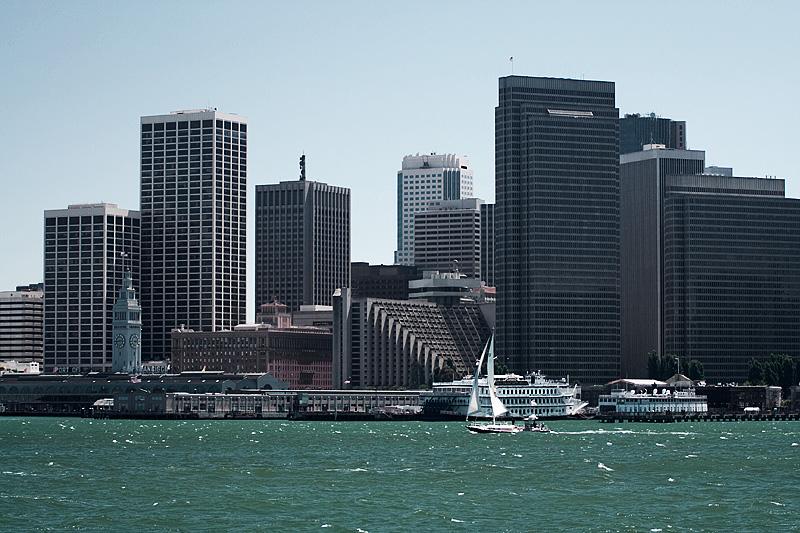 A larger sailboat in the choppy waters of San Francisco. - San Francisco, California, USA - Daily Travel Photos