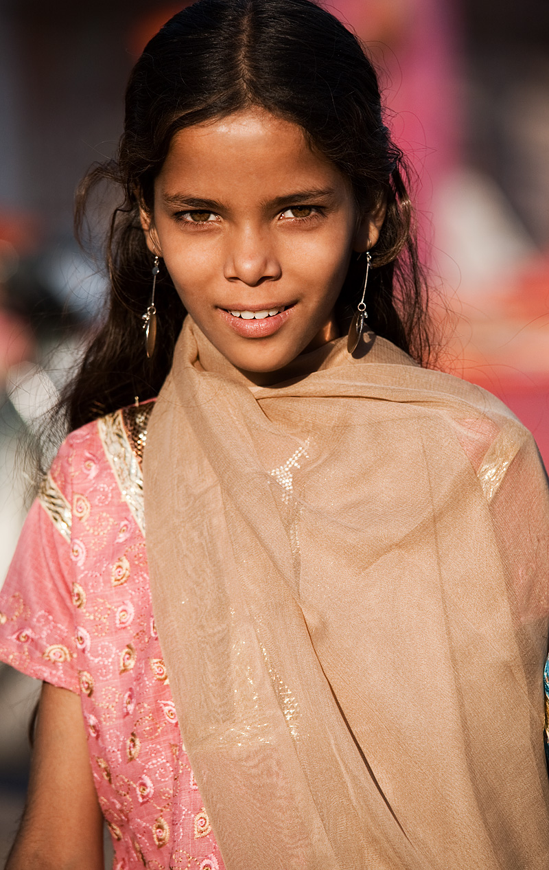 A young Indian beauty poses for a portrait. - Jodhpur, Rajasthan, India - Daily Travel Photos