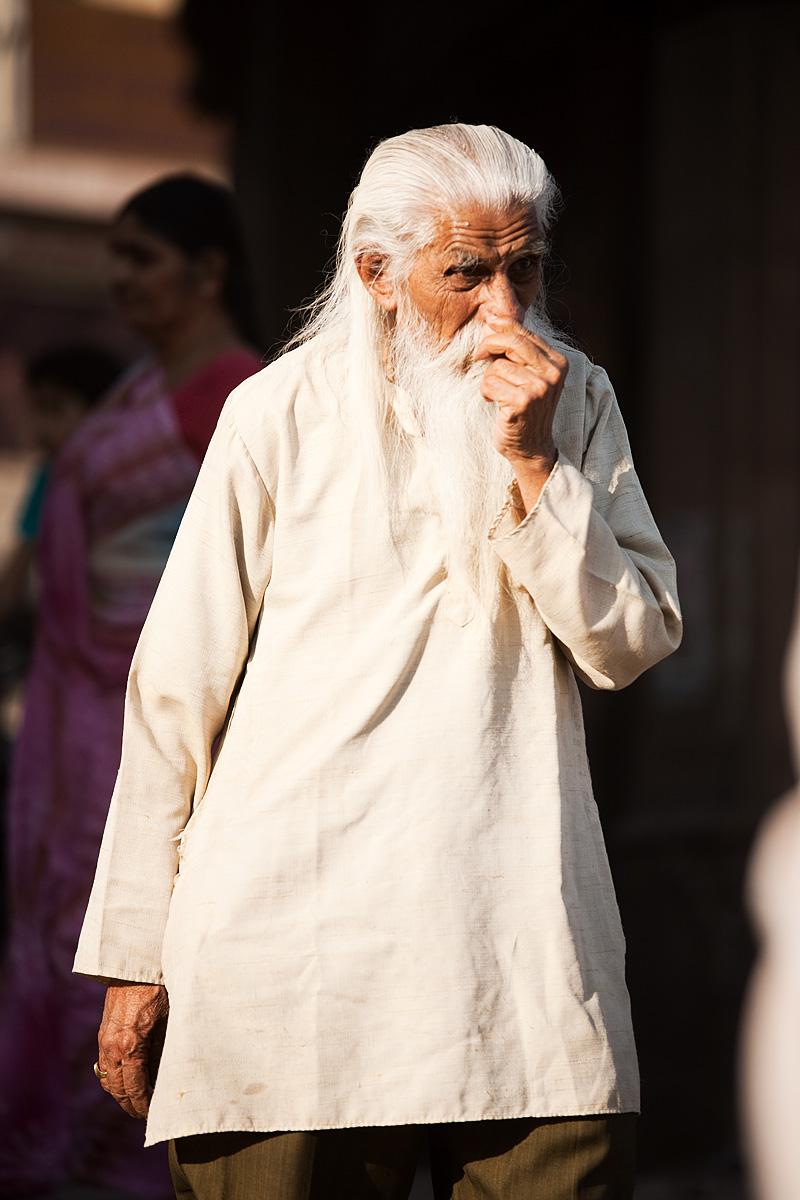 An aged Indian man resembles Gandolf the White. - Jodhpur, Rajasthan, India - Daily Travel Photos
