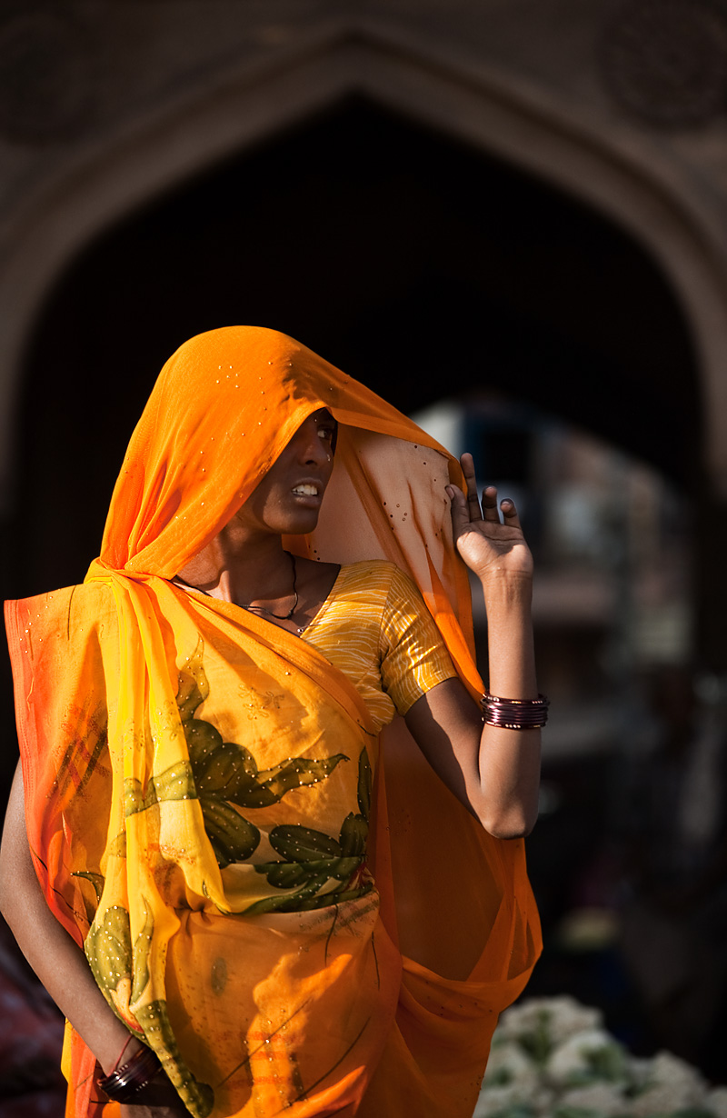 A beautiful Gujarati woman framed by an arched doorway. - Jodhpur, Rajasthan, India - Daily Travel Photos