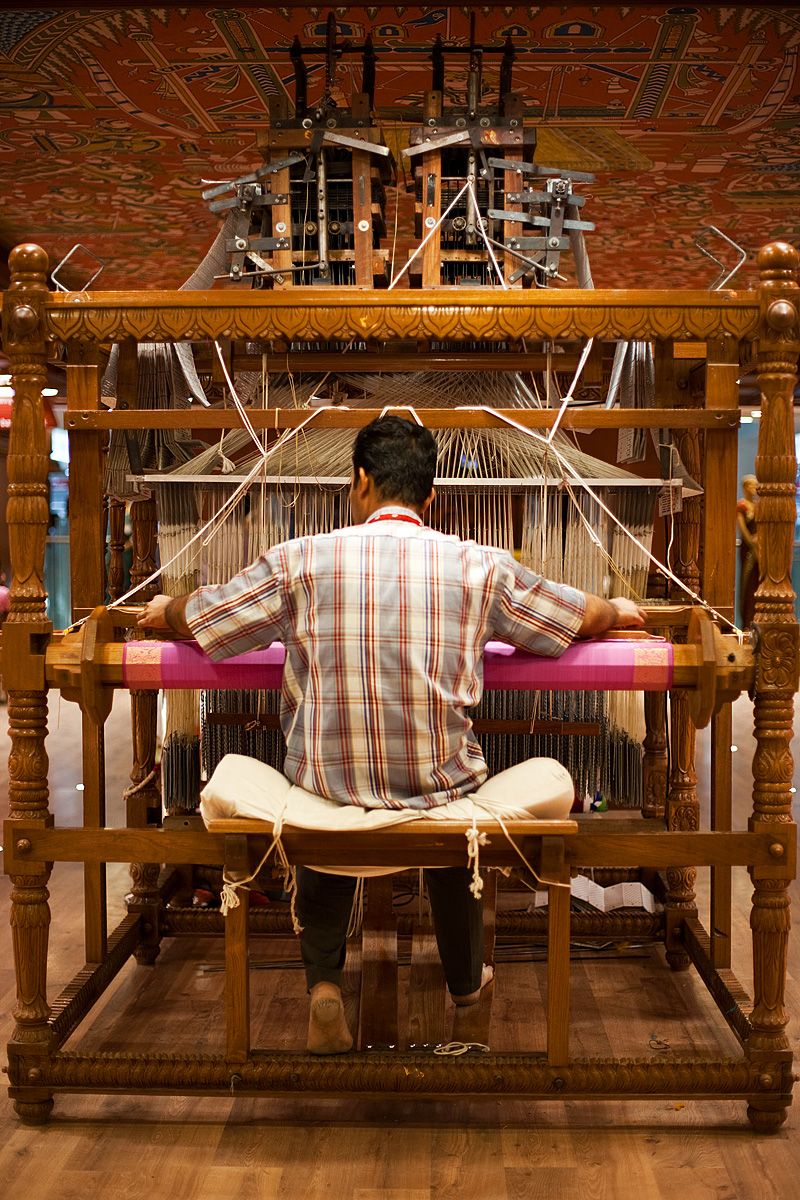 A weaver creates a saree work of art using an extremely intricate handloom. - Tirunelveli, Tamil Nadu, India - Daily Travel Photos