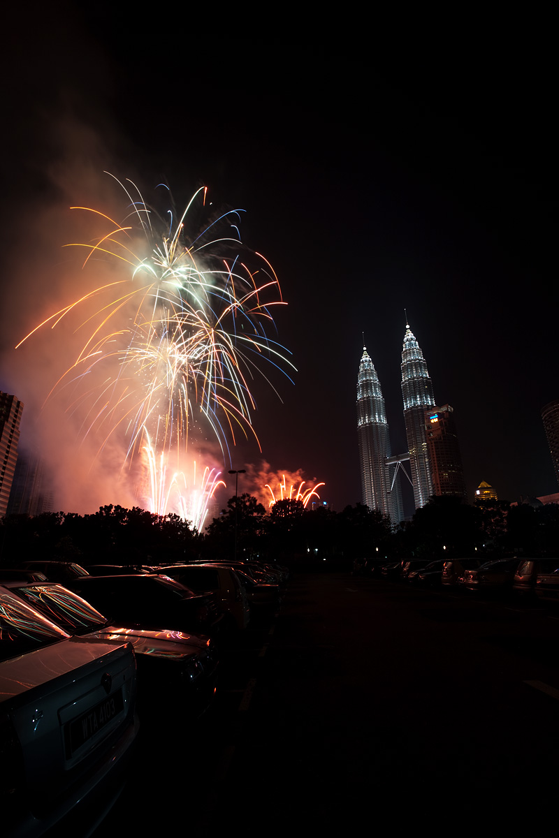 New Year's Eve Fireworks at the Petronas Towers at KL City Center. - Kuala Lumpur, Malaysia - Daily Travel Photos