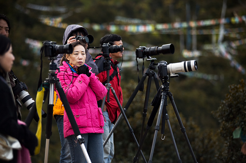 Chinese photographers amongst a sea of cameras and tripods. - Deqin, Yunnan, China - Daily Travel Photos