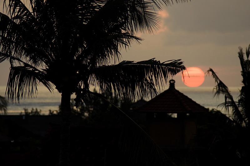 The sun sets perfectly behind palm trees into the ocean. - Kuta, Bali, Indonesia - Daily Travel Photos