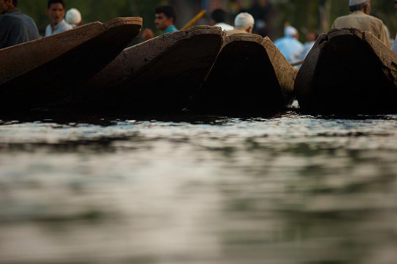 The fronts of Kashmiri flat-bottomed boats. - Srinagar, Kashmir, India - Daily Travel Photos