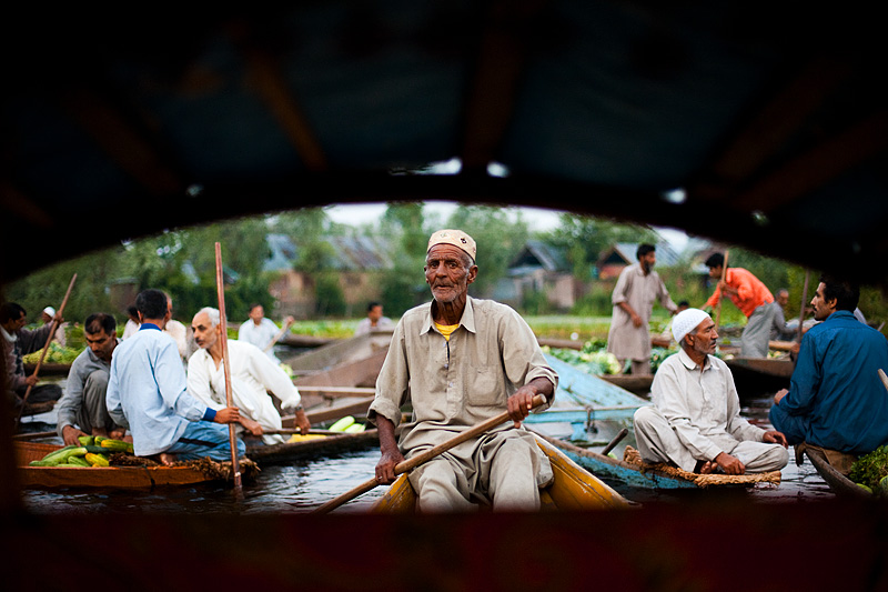 A rear-window view of a boatman deftly steering through the hordes of vegetable-mongers at the floating market. - Srinagar, Kashmir, India - Daily Travel Photos