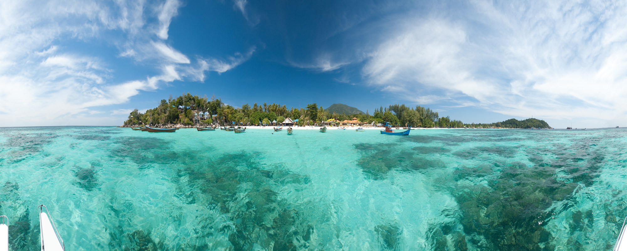 A use-controlled panorama of Pattaya Beach from the water. - Ko Lipe, Thailand - Daily Travel Photos