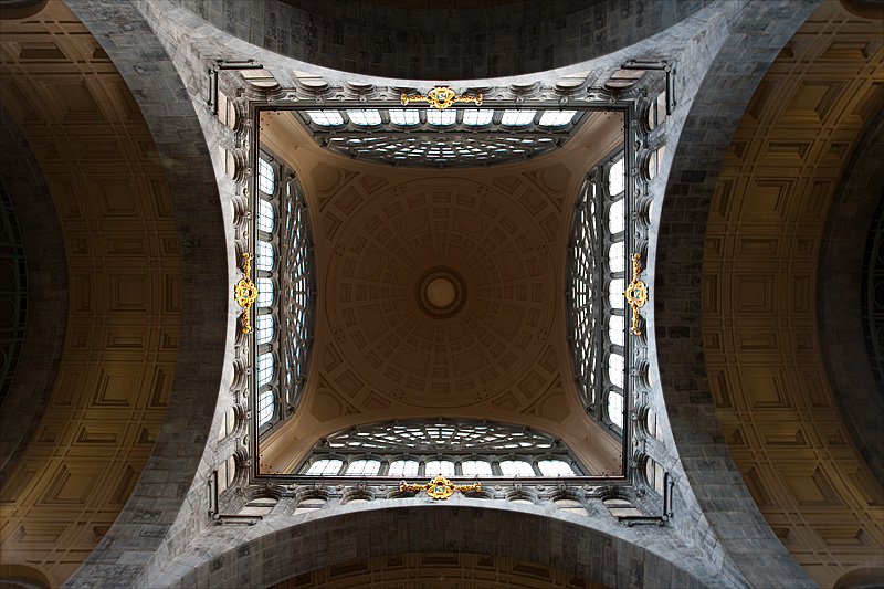The vaulted ceiling and dome of Antwerp Central Station. - Antwerp, Belgium - Daily Travel Photos