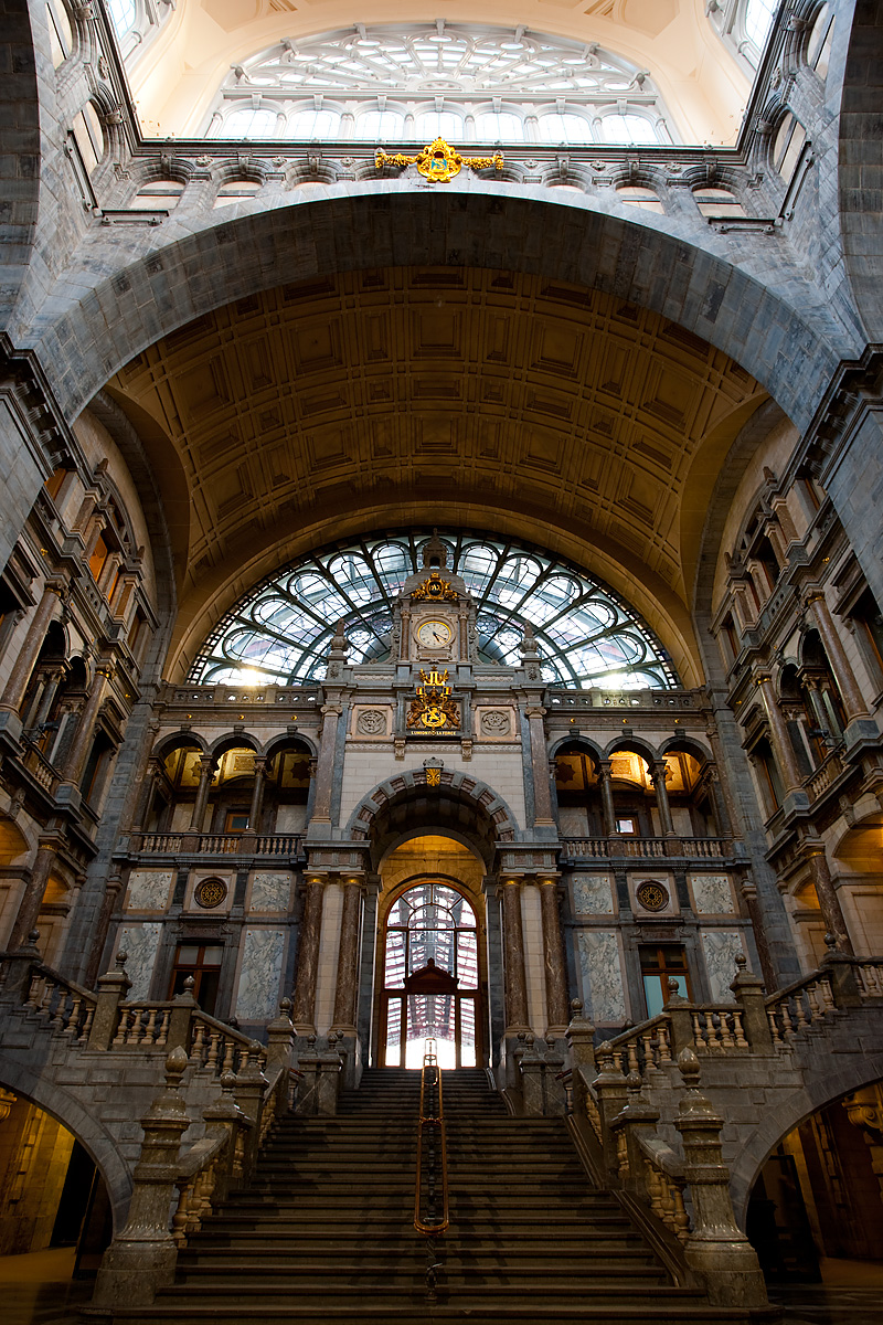 The steps of the waiting room at Antwerp's Centraal Train Station. - Antwerp, Belgium - Daily Travel Photos
